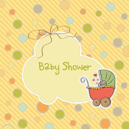 specifically: delicate baby shower card with pram
