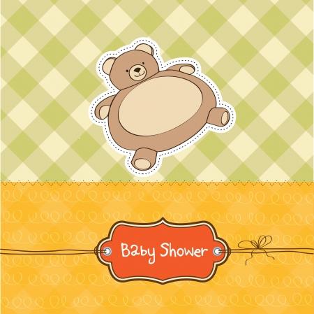 babero: bebé ducha tarjeta con osito