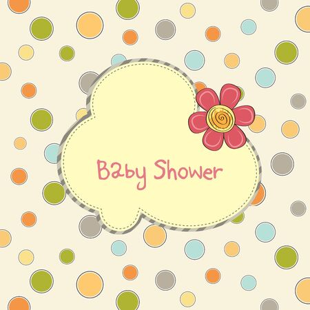 childish: baby shower card with flower