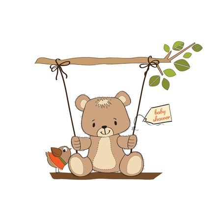 baby shower card with teddy bear in a swing Illustration