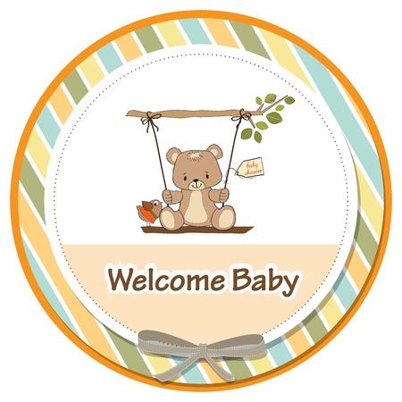baby shower card with teddy bear in a swing Ilustração