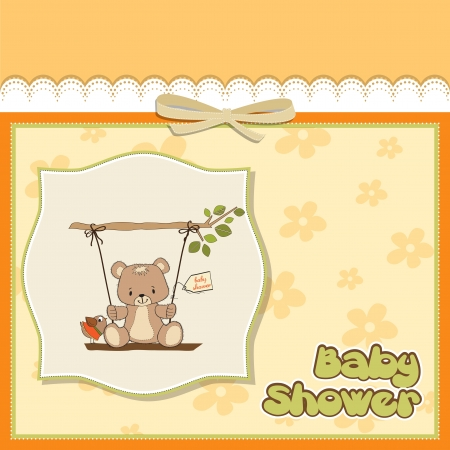 happy birthday girl: baby shower card with teddy bear in a swing Illustration