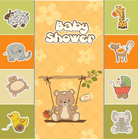 cute girl with teddy bear: baby shower card with teddy bear in a swing Illustration