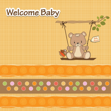 delicate: baby shower card with teddy bear in a swing Illustration