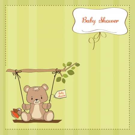 cute baby girls: baby shower card with teddy bear in a swing Illustration