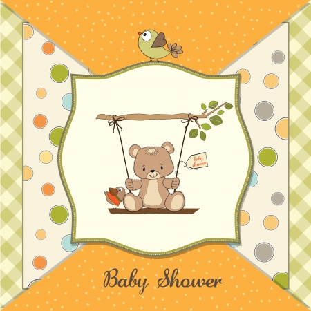 playfulness: baby shower card with teddy bear in a swing Illustration
