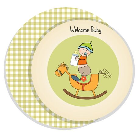 baby boy shower shower with wood horse toy Stock Vector - 15225518