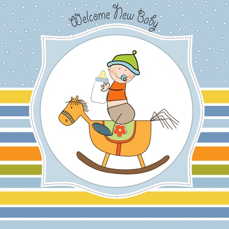 infant: baby boy shower shower with wood horse toy