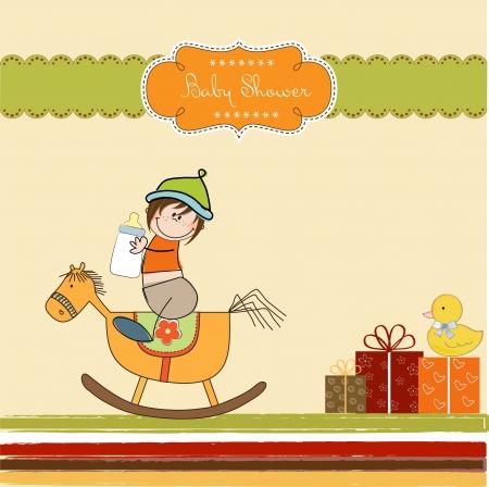 welcome party: beb� ducha ducha con el caballo de madera de juguete