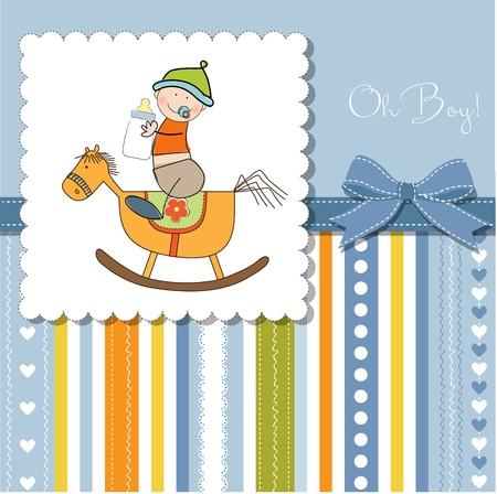 uitnodigen: baby jongen douche douche met houten paard speelgoed