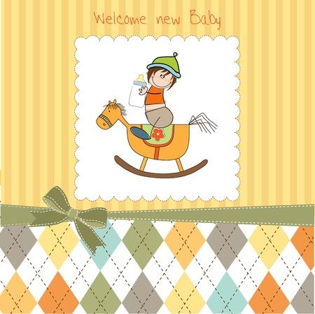 bebé ducha ducha con el caballo de madera de juguete