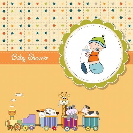 locomotoras: beb� ducha tarjeta divertido de la historieta Vectores
