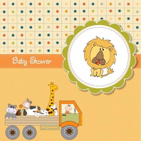 leon bebe: bebé ducha tarjeta divertido de la historieta Vectores