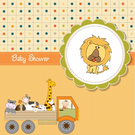 lion dog: funny cartoon baby shower card