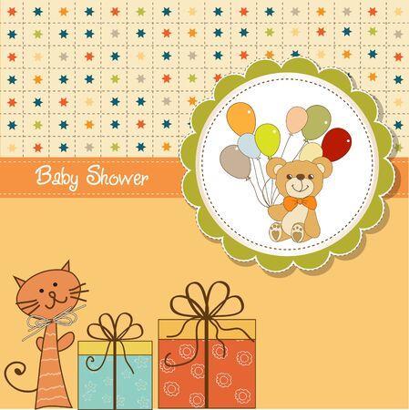 balloons teddy bear: funny cartoon baby shower card