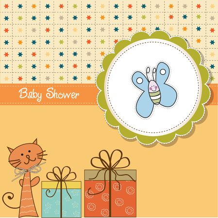 cat toy: funny cartoon baby shower card