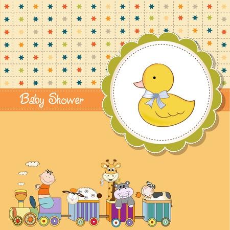 birthday train: funny cartoon baby shower card