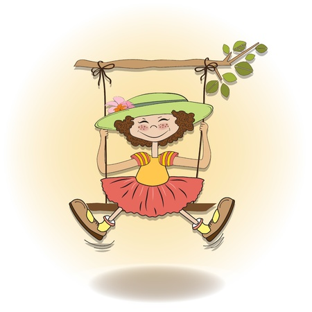 silly: funny girl in a swing