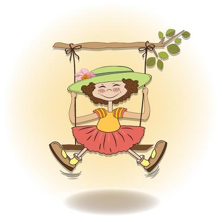 hanging woman: ragazza divertente in un altalena Vettoriali