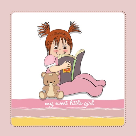 sweet little girl reading a book Stock Vector - 15301679