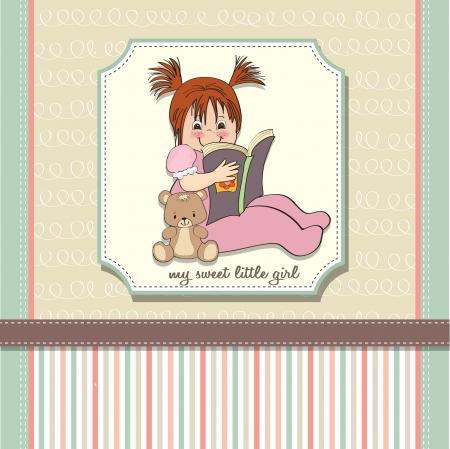 sweet little girl reading a book Stock Vector - 15301686
