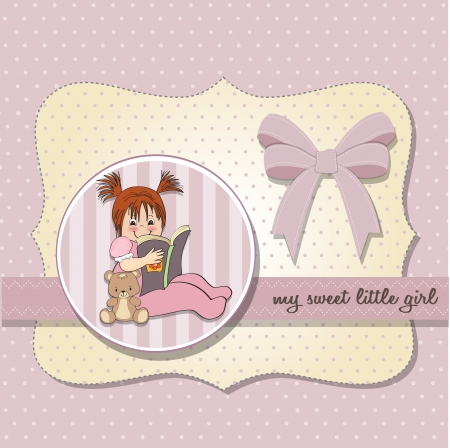 sweet little girl reading a book Stock Vector - 15301691