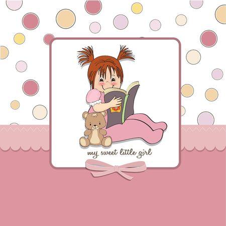 sweet little girl reading a book Vector