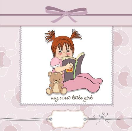 sweet little girl reading a book Stock Vector - 15301688