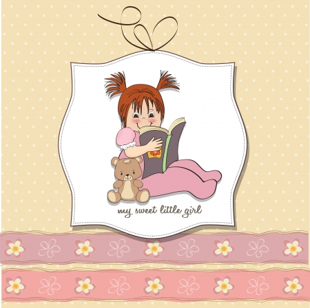 sweet little girl reading a book Vector