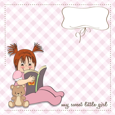 sweet little girl reading a book Stock Vector - 15301683