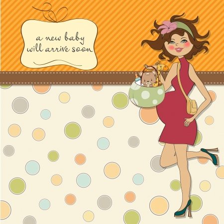 new baby announcement card with pregnant woman Stock Vector - 15301703