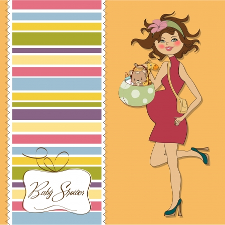 new baby announcement card with pregnant woman Stock Vector - 15301704