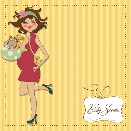 new baby announcement card with pregnant woman Stock Vector - 15301699