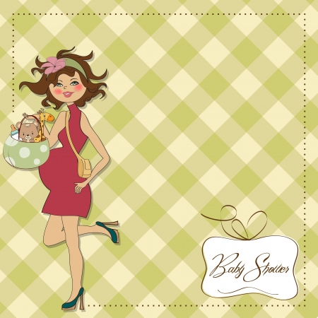 new baby announcement card with pregnant woman Stock Vector - 15301702