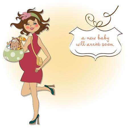 nuevo bebé anuncio de la tarjeta con la mujer embarazada Ilustración de vector