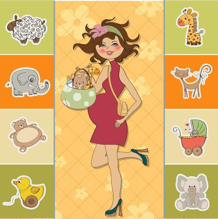 new baby announcement card with pregnant woman Stock Vector - 15301720