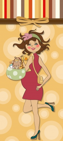 new baby announcement card with pregnant woman Stock Vector - 15301697