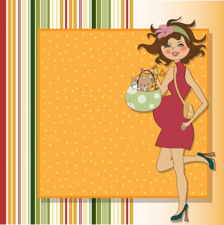 new baby announcement card with pregnant woman Stock Vector - 15301716