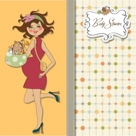 flushed: new baby announcement card with pregnant woman