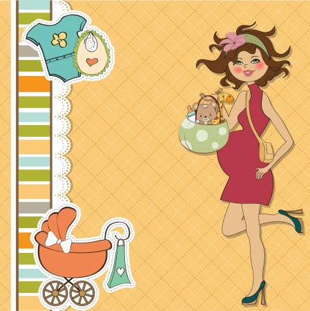 awaiting: nuevo beb� anuncio de la tarjeta con la mujer embarazada