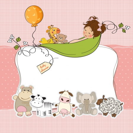 cute girl with teddy bear: baby girl shower card Illustration