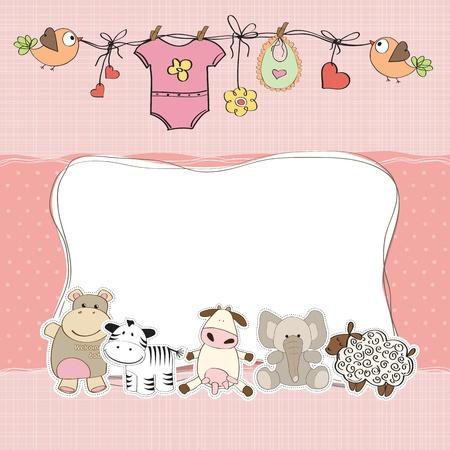 귀여움: 여자 아기 샤워 카드