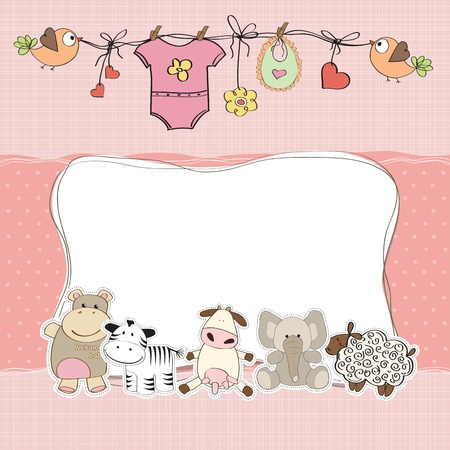 hanging girl: baby girl shower card Illustration