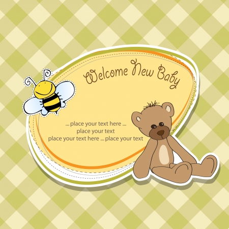 baby announcement: cartoon baby shower card with teddy bear Illustration