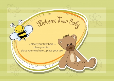 welcome smile: cartoon baby shower card with teddy bear Illustration