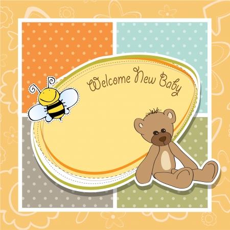 bee birthday party: cartoon baby shower card with teddy bear Illustration