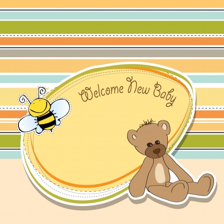bee birthday party: cartoon baby shower card with teddy bear Illustration