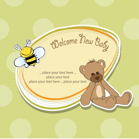cartoon baby shower card with teddy bear Stock Vector - 15550448