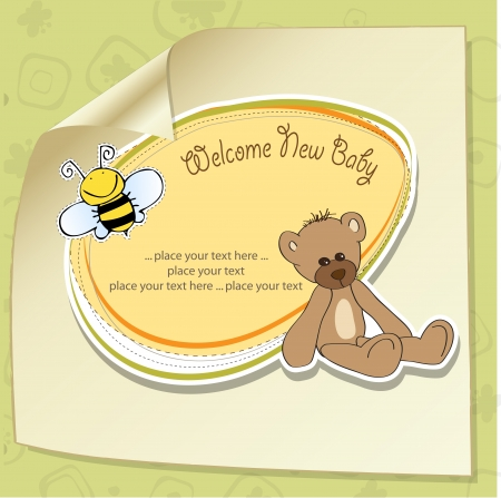 bee party: cartoon baby shower card with teddy bear Illustration