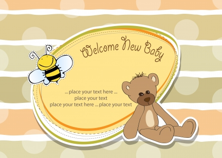 cartoon baby shower card with teddy bear Vector
